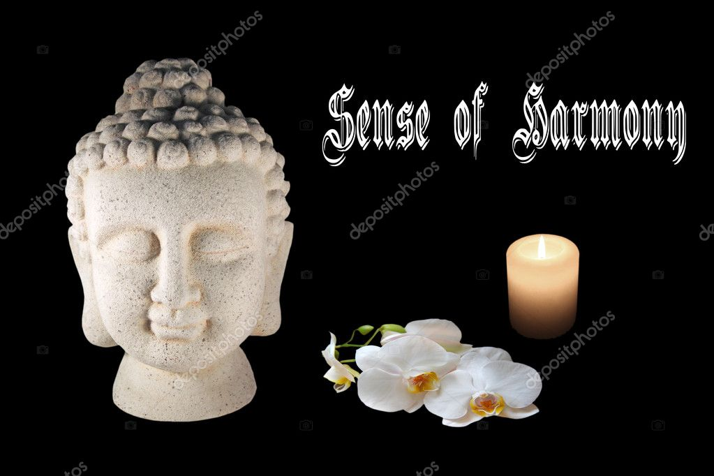 A concept of harmony with Buddha, a white orchid a candle on a black background — Stock Photo #9389397