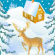 Deer and the winter house - Stock Vector