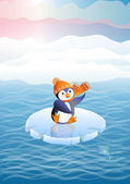 Penguin on an ice floe — Vector de stock