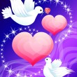 Stock Vector: Two hearts and in love pigeons