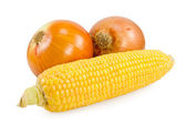 Corn and onions — Stock Photo