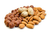 Peanuts, almonds, hazelnuts — Stock Photo