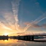 Beautiful panoramic sunrise in city — Stock Photo