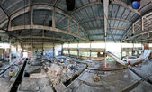 Abandoned factory panoramic interior — Stock Photo