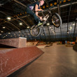 Stock Photo: Biker doing bar spin drop trick