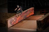 Biker doing smith grind — Stock Photo