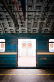 Subway train in dark tunnel — Stock Photo
