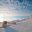 Ski slope at sunrise — Stock Photo