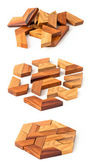 Hölzerne hexaeder-puzzle — Stockfoto