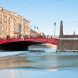 Small red bridge and channel - Stock Photo