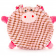 Funny hand made plush pig - Stock Photo