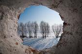 Paysage par le biais de la fenêtre arrondie — Photo