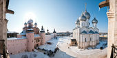 Monastery in snow panorama — Stock Photo