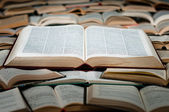 Big book on heap of books — Stock Photo