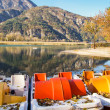 Autumn view of the lake of Cavazzo, Italy - Stock Photo