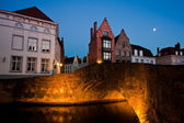 The Belgian town of Bruges at sunset — Stock Photo