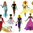 Stock Vector: Fashionable women