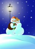 Cнеговики на свидании — Stock Vector