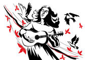 A woman with a guitar — Stock Vector