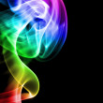 Mehrfarbig rauch qualm Wellen dampf smoke zigarette duft parfüm — Stock Photo