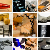 Ballpoint ink, brush, pencil handy stamp collage — Stock Photo