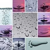 Blow drip water collage — Stock Photo