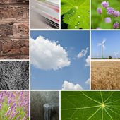 Environmental natural stone lotus leaf water drops lavender sky collag — Stock Photo