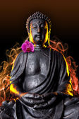 Buddha Buddhismus qualm orchidee Statue Gott Feng-Shui Asien — Stock Photo