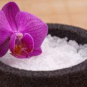 Zen masáž asien harmonie salz meer orchidee — Stock fotografie