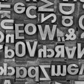 Blei satz wort schrift Bleilätter Alphabet Reporter Texter — Stock Photo