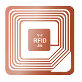 Rfid chip radio-label award were stolen identification label copper send vector data — Stock Vector