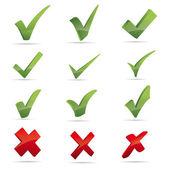 Wektor zielony x wyboru haken znak ikona czerwony x krzyż zestaw — Wektor stockowy