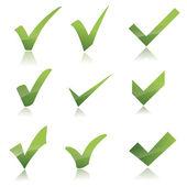 Vector Green X check haken sign icon set — Stock Vector