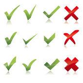 Vector Green X check haken sign icon red X cross set — Stock Vector