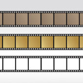 Set 35mm movie film reel filmstrip photo roll negative reel movie camera cinematic hollywood — Stock Vector