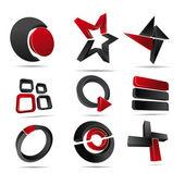 3D Vector Logo Forms — Stock Vector