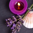 Candel with flamme with lavender — Stock Photo