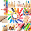 Colored pencil collage - Stock Photo