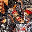 Barbecue grill collage — Stock Photo