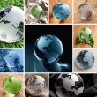 Glas globo collage — Foto Stock
