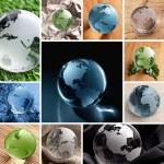 glas globe collage — Stockfoto