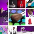 Cosmetics and Make-up Collage - Stock Photo