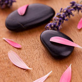 Black stones with leaves and lavender — Stock Photo