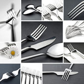 Table cutlery collage — Stock Photo