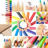 Colored pencil collage — Stock Photo