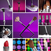 Cosmetics and Make-up Collage — Stock Photo