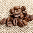 Royalty-Free Stock Photo: Brown Coffee Beans on a jute bag