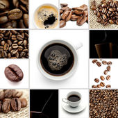 Brunt kaffe kopp bönor collage — Stockfoto