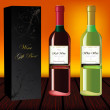Set of red and white wine with gift box — Stockfoto