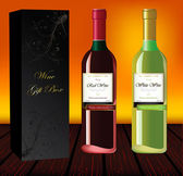 Set of red and white wine with gift box — Stock Photo